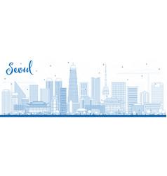 Outline seoul korea skyline with blue buildings vector