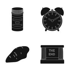 Packaging alarm clock and other web icon in black vector