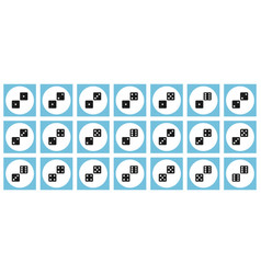 Pairs of black dices flat icon set vector