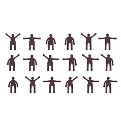 People minimalistic icons set symbols of standing vector