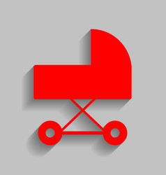 Pram sign red icon with soft vector
