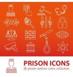 Prison outline icons vector