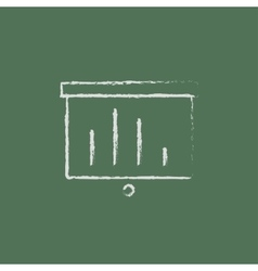 Projector roller screen icon drawn in chalk vector image