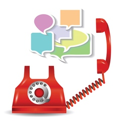 red telephone and speech bubbles vector image