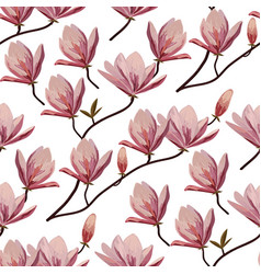 Seamless pattern with blossom brunches of magnolia vector