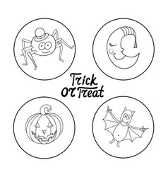 set of halloween characters spider in hat vector image vector image