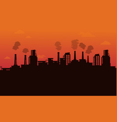 Silhouette of pollution industry backgroud vector