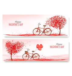 Valentines Day banners with a heart shaped tree vector image