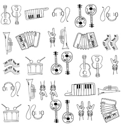 Hand draw music doodles vector