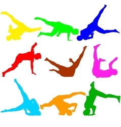 Silhouettes breakdancer on a white background vector