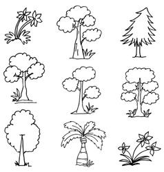 Doodle of tree different style hand draw vector