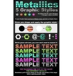 5 metallic graphic styles vector