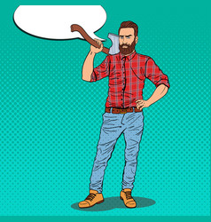 pop art hipster lumberjack with beard and axe vector image