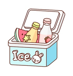 The bottles in an ice box vector image