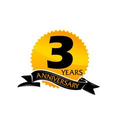 3 years ribbon anniversary vector image