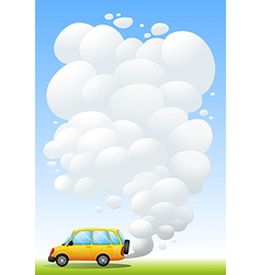 A yellow van emitting smoke vector