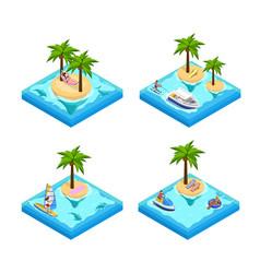 Island vacation isometric set vector