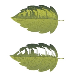 Green leaf with factory building vector