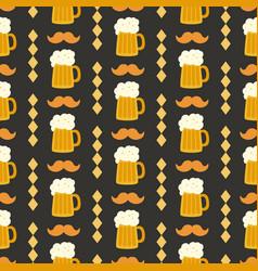 oktoberfest seamless pattern with beer mug vector image