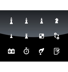 Set of chess icons on black background vector