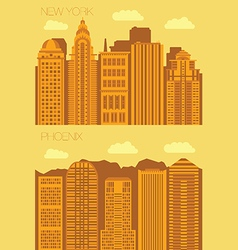 Set 2 flat background city newyork and phoenix vector