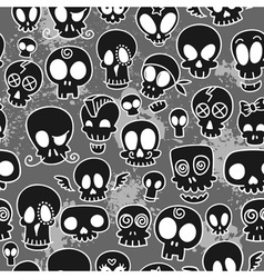 Cute skulls pattern vector