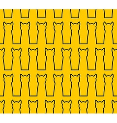 Linear silhouette cat seamless pattern background vector