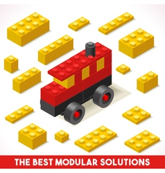 Toy block bus games isometric vector