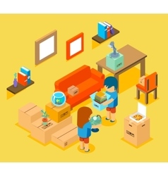 Moving into new apartment isometric 3d vector