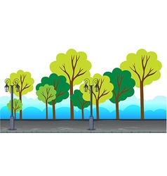 Trees and lamp posts alone the road vector