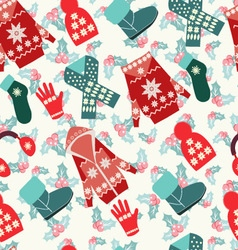 Flat collection of winter clothes and accessories vector