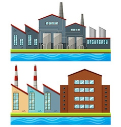 Factory buildings with tall chimneys vector