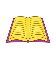 Open book with text icon cartoon style vector