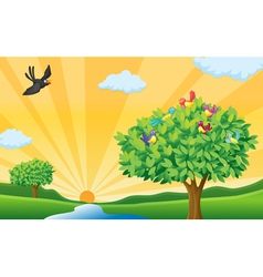 Nature landscape scene vector