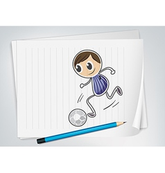 A piece of paper with a soccer player vector image vector image