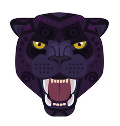 angry black panther head logo wild cat vector image