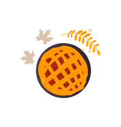 Apple pumpkin fruit pie and fall autumn leaves vector