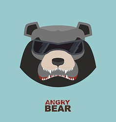 Bear head Angry bear logo Hockey emblem vector image