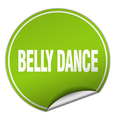Belly dance round green sticker isolated on white vector