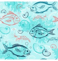 blue marine seamless pattern vector image