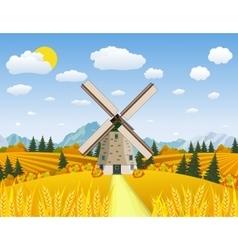 Cartoon beautiful fall farm scene vector image