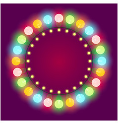 christmas or casino lights frame vector image vector image
