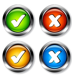chrome checkmarks buttons vector image