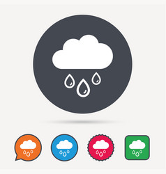 Cloud with rain drops icon rainy day sign vector