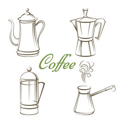 coffee pot and sign coffee isolated vector image vector image