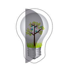 Color sticker silhouette with bulb light and tree vector