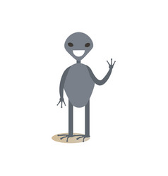 cute cartoon alien waving flat vector image