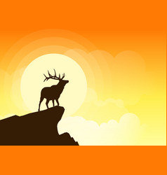 deer silhouette on a cliff at sunset vector image