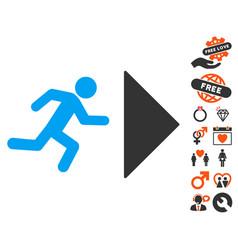 Exit direction icon with valentine bonus vector