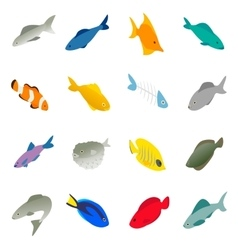 Fish icons set isometric 3d style vector image